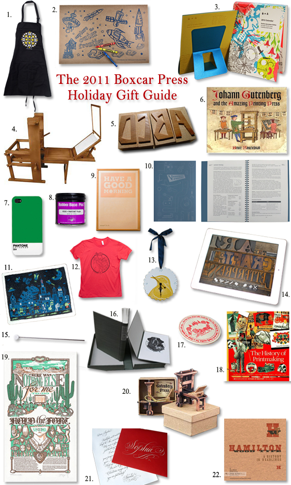 A holiday gift shopping guide for letterpress lovers, created by Boxcar Press