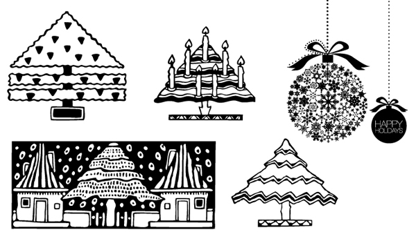Holiday vector designs from Boxcar Press