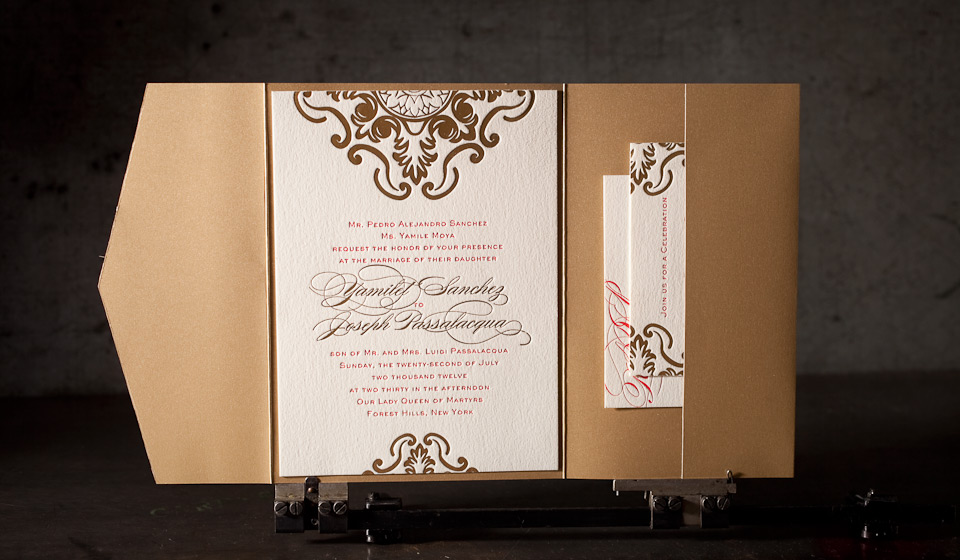 A Foil Stamped Wedding Invitation With Old World Feel