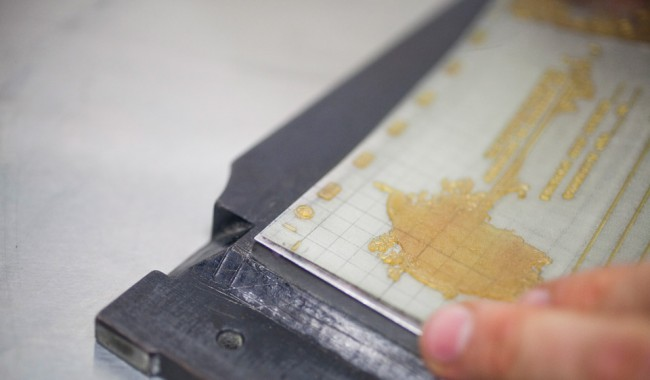 photo of Aligning plate to grid