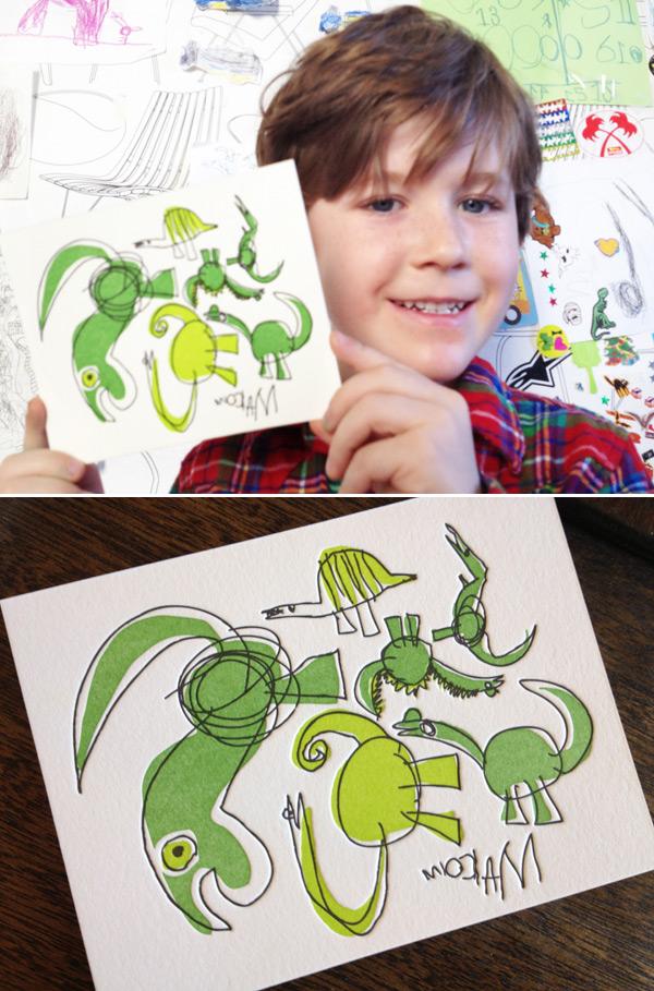 Malcolm's letterpress dinosaur cards