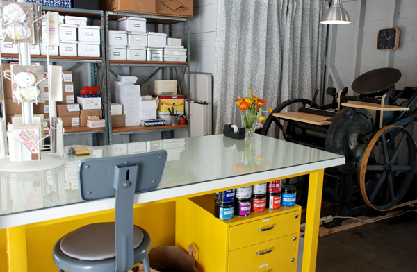 Julie Karatzis of Cartoules Press talked with Boxcar Press about her workspace and how she got started