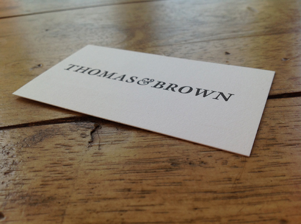 Letterpress business cards made at Thomas & Brown in Chicago