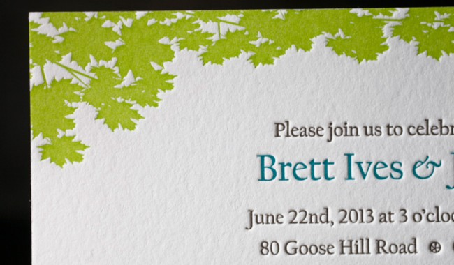 Custom letterpress invitations printed by Boxcar Press