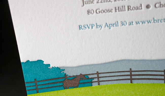 Letterpress wedding invitations printed by Boxcar Press