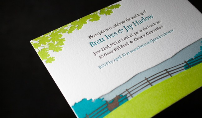 Boxcar Press created these custom letterpress wedding invitations