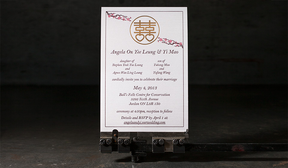 Letterpress and foil stamped wedding invitations from Boxcar Press