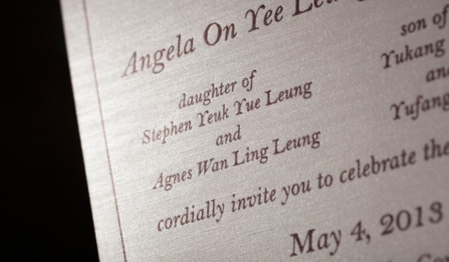 Contemporary letterpress wedding invitations, printed by Boxcar Press