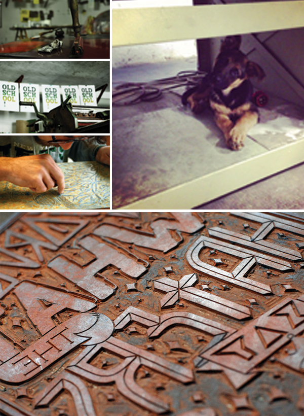 Custom engraving, friendly puppy mascot, and hand-crafted printed pieces of & Type of Italy.