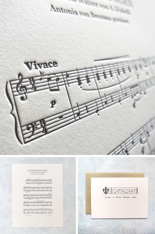 Detailed music sheets letterpressed deftly by Presse Dufour.