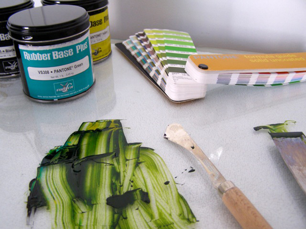 Green Ink and Pantone colors on display at Presse Dufour.