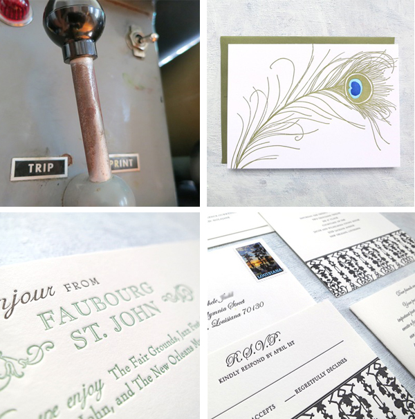 Vandercook letterpress press handle and Presse Dufour printed goodies.