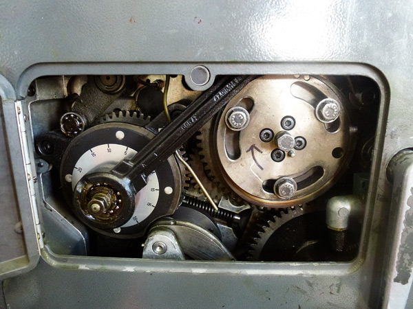 The inside gears and pulleys at Boxcar Press