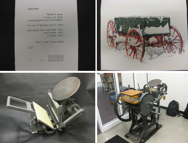 Lettepressed fine detailed pieces from James Jareb. Table-top and floor platen presses.