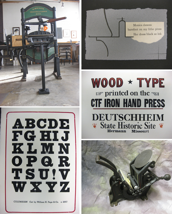Fine letterpress pieces including posters and CTF Iron Hand press pieces.