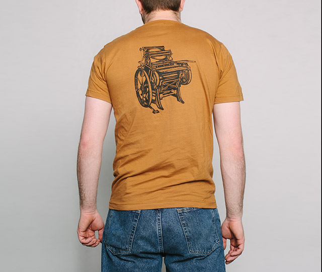 New Letterpress T-Shirts: Chandler and Price Press back mens