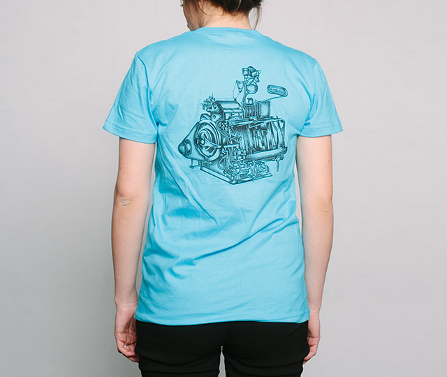 New Letterpress T-Shirts: Heidelberg Windmill Press womans back