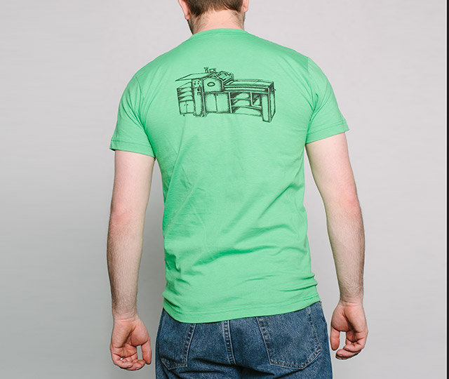 New Letterpress T-Shirt: Vandercook Press mens back