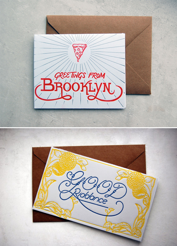 Carrie Durand's letterpress cards display expert hand lettering.