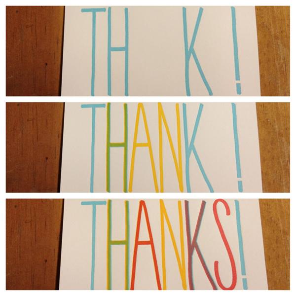 Colorful lettepress thank you cards cheer up any occasion, courtesy of Fugu Fugu Press.