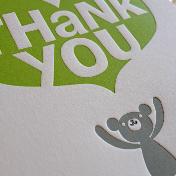 A chartreuse and grey lettepress thank you card, printed at Fugu Fugu Press, brightens up any day.