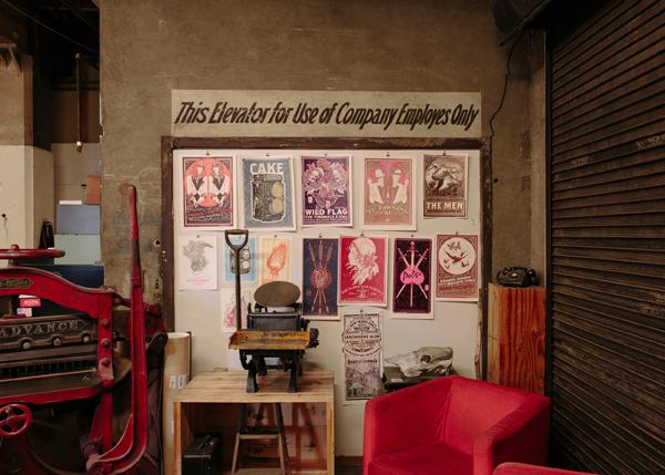 The colorful print wall of Keeganmeegan and Co.