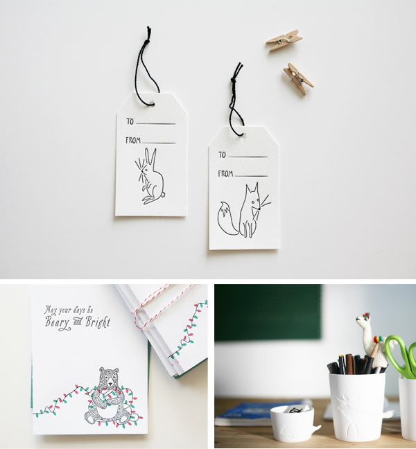 Cheery letterpress holiday hang tags and cards from Bears Eat Berries.