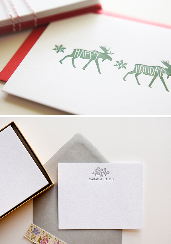 Holiday cheer can be found in Bears Eat Berries festive holiday letterpress collection.