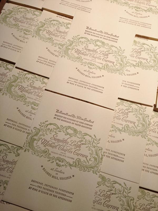Elegant detail work of invitations printed by Appalachia Press.