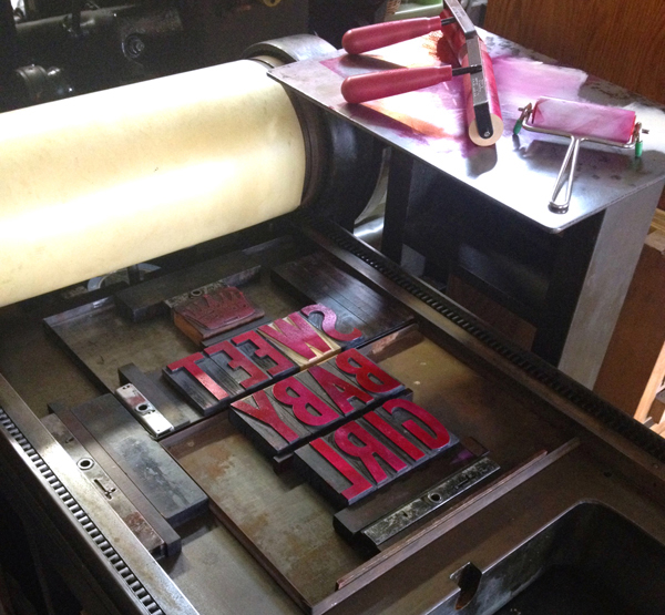 Printing on a Vandercook at Pheasant Press.