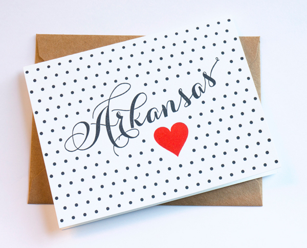 Letterpress Arkansas love card by Pheasant Press.