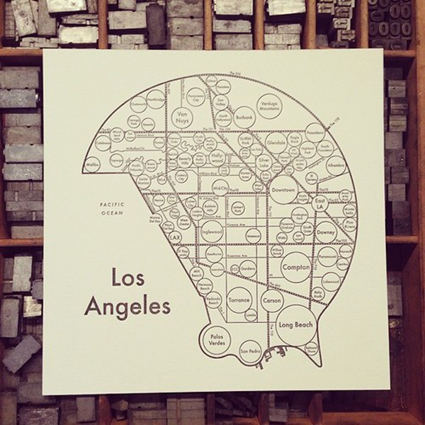 Archie Archambault of Archie's Press prints beautifully crafted letterpress maps of Los Angeles.