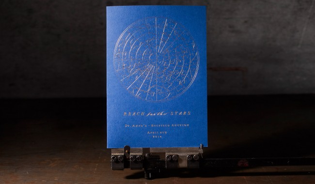 Gold foil stamped gala invitations printed by Boxcar Press, designed by Katie Barr of Tucked