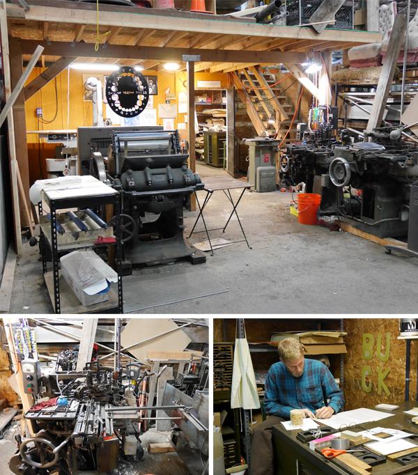 David Johnston of Sharp Teeth Press working in his printshop and views of the printshop.