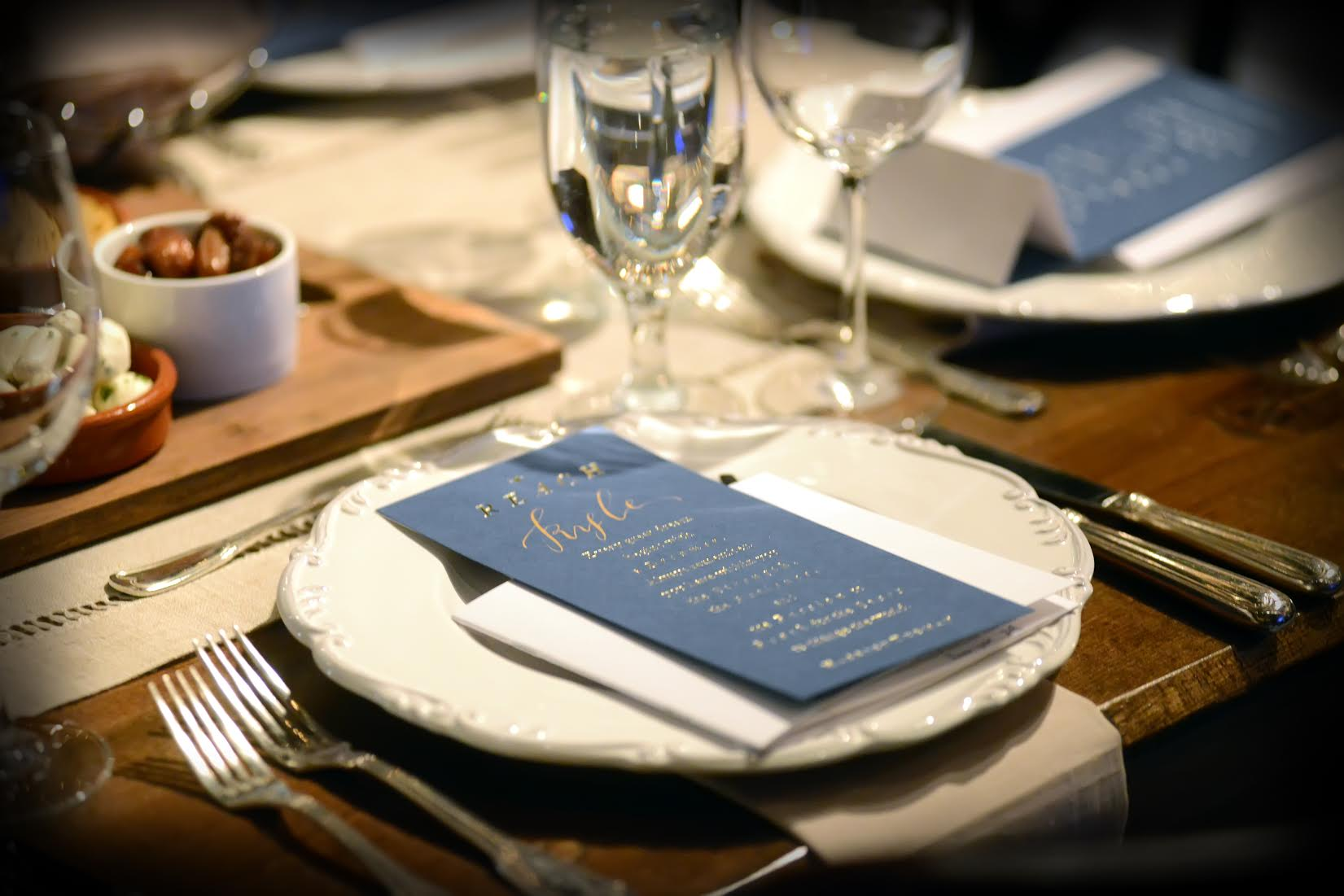 Foil stamped place cards printed by Boxcar Press