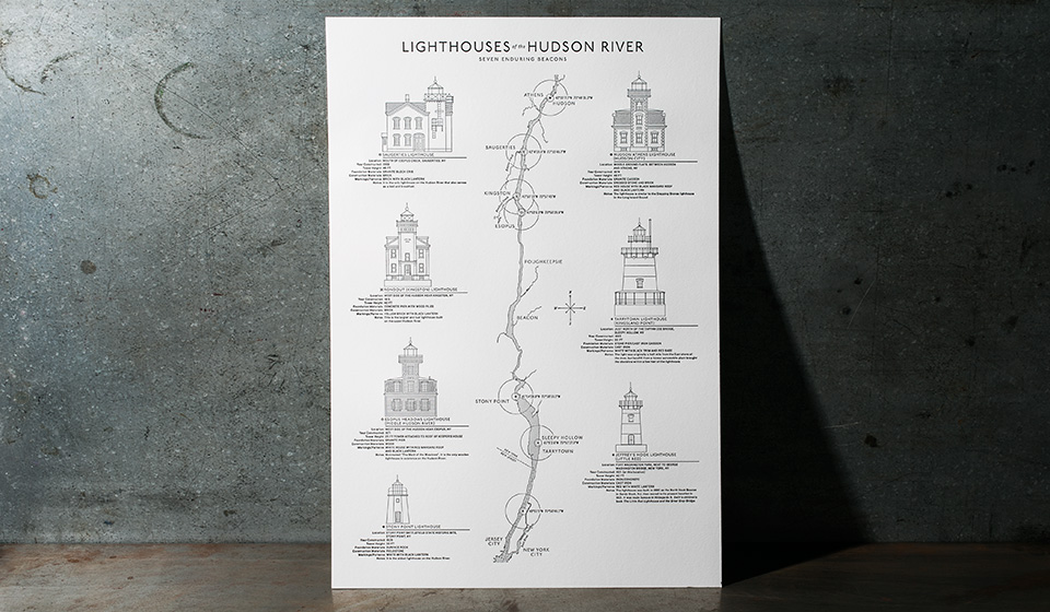 Letterpress Lighthouse Poster - design by Norman Ibarra, printing by Boxcar Press