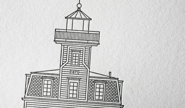 Letterpress lighthouse poster - Lighthouses of the Hudson River, designed by Norman Ibarra + printed by Boxcar Press