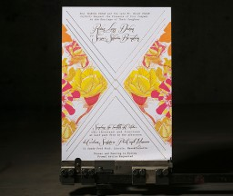 Digitally printed + gold foil stamped floral wedding invitations by Umama, printed by Boxcar Press