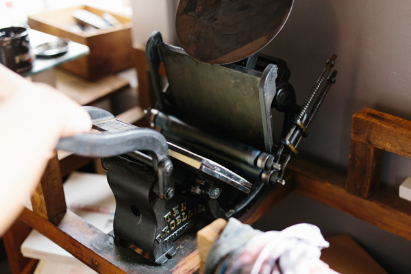 The Tympanum Press prints with a 5x8 Kelsey Excelsior