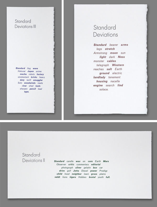 Ted Ollier's letterpress printing samples