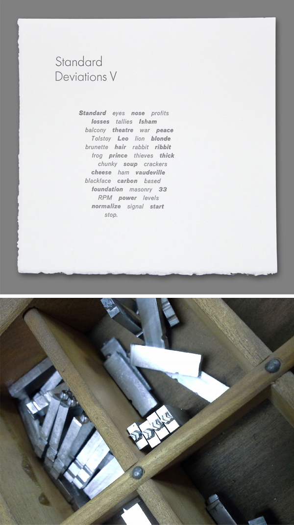 Ted Ollier's letterpress printing samples, plus lead type at the Bow & Arrow Studio