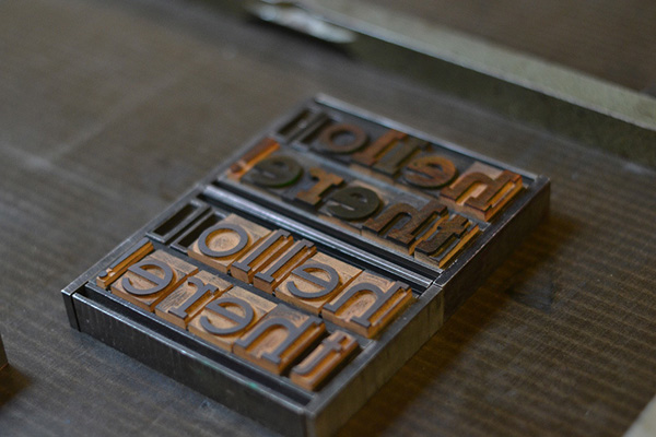 Hand-set wooden type at Archivio Typographico.