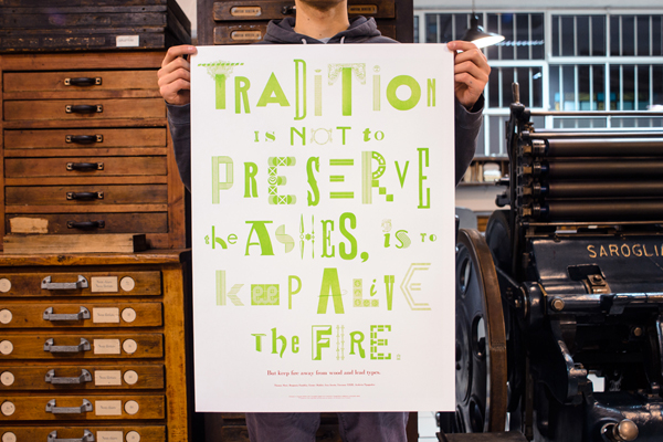 Vibrant green hand-set letterpress poster from Archivio Typographico