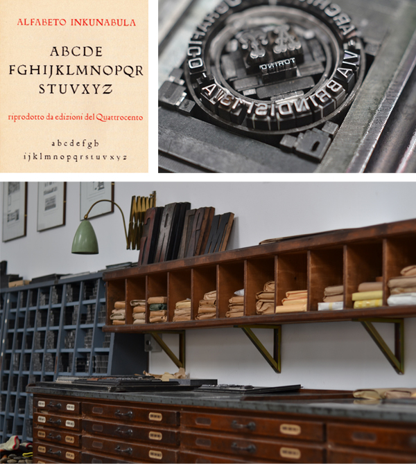 Drawers of metal type and a letterpress sample of the Inkunabula typeface at Archivio Typographico.