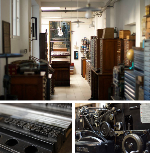 Drawers of metal type and a press close-up at Archivio Typographico