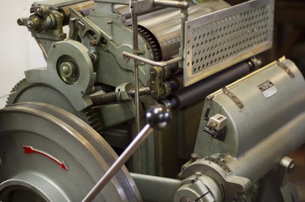 Letterpress printing press at Archivio Typographico.