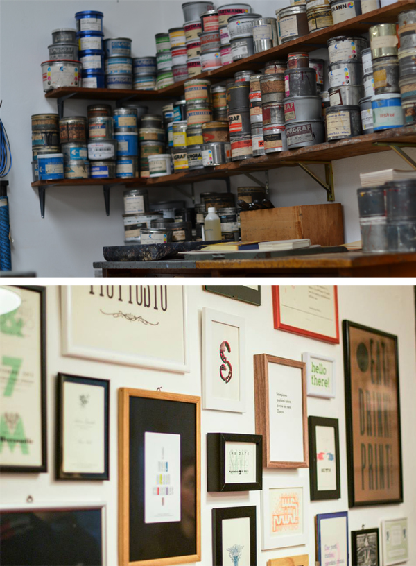 A wide array of printing inks and beautiful printing samples at Archivio Tipografico.