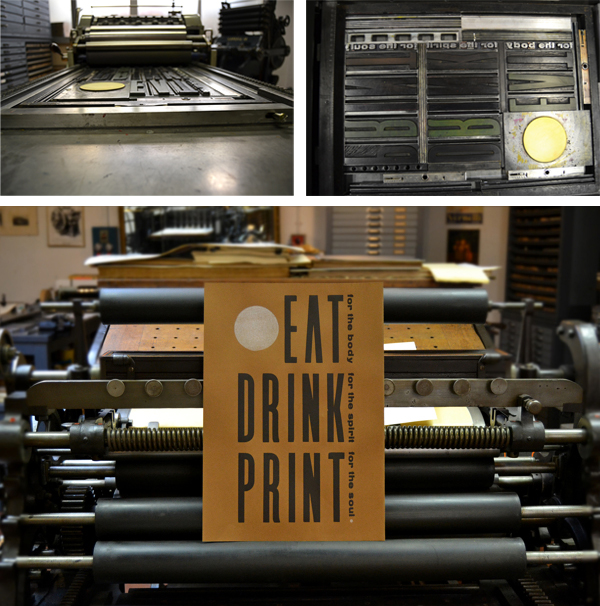 Gorgeous Eat Drink Print hand-set letterpress poster from Archivio Tipografico.