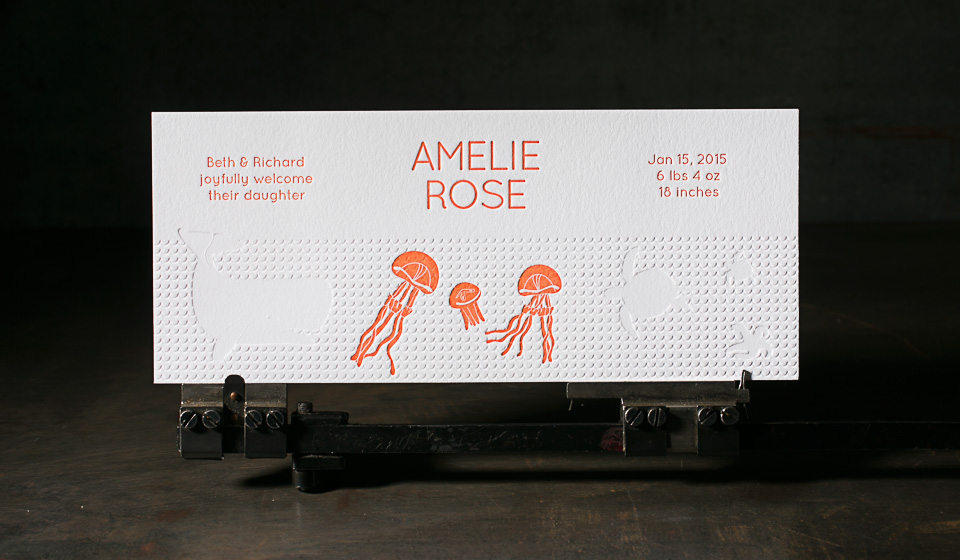 Letterpress birth announcements from Boxcar Press