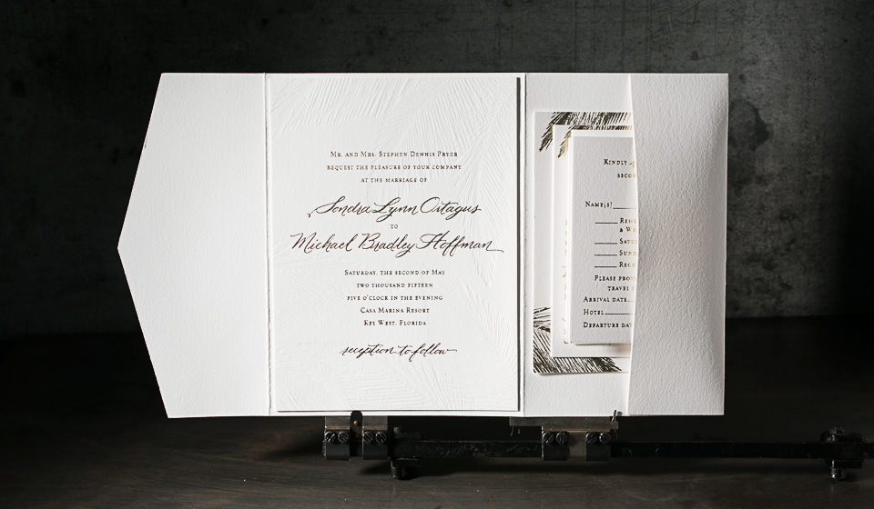 Custom gold foil stamped wedding invitations